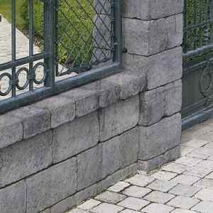 Semmelrock Castello kerítés szürke-fekete félkő